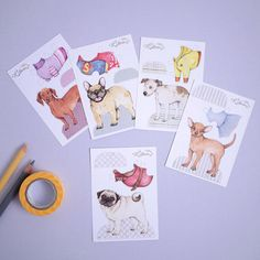 Dog paper dolls mini paper doll set with clothes dress-up