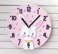 0b8b935834  pokujdziecka  kids  baby  zegar  clock  handmade  artyferia  rękodzieło   ozdoba  decor  design  rabbit  pink  cute