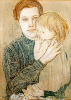 mother and child painting by Stanislaw Wyspianski. Portrait of Salomea Hankiewiczsowa Mother And Child Drawing, Illustrations, Illustration Art, Mother And Child Reunion, Mothers Love, Figurative Art, Gouache, Art Drawings, Chalk Drawings