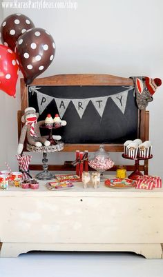 Sock monkey birthday party - Kara's Party Ideas -www.KarasPartyIdeas.com