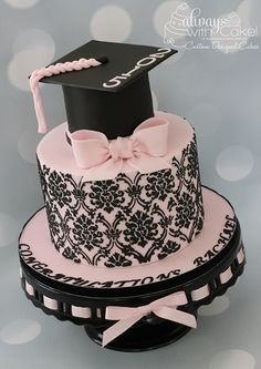 Pink And Black Damask Graduation Cake