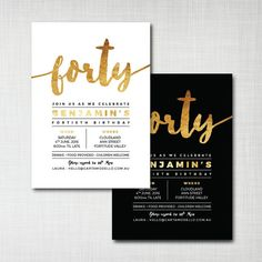 40th birthday invitation modern gold foil effect by cartamodello