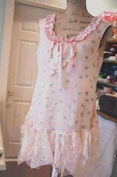 Silk Dress Womens Clothing Large Shabby Chic by OfLinenandLace, $68.50