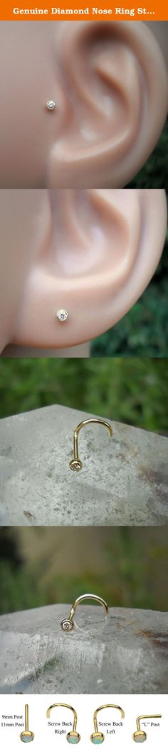 """Genuine Diamond Nose Ring Stud - Cartilage Tragus Earring - 14K Solid Gold 2mm Ball 20G to 16G Post. This listing is for a single 14k solid gold 2mm ball nose ring - nose stud set with a 1.5mm beautiful sparkly brilliant cut genuine diamond F color VS clarity. We only use high quality, natural and not treated conflict free diamonds. Can be ordered as an """"L"""" shape nose ring, screw back nose ring, bone back, tragus earring - 9mm post or cartilage earring - 11mm post. Available in 14k solid..."""