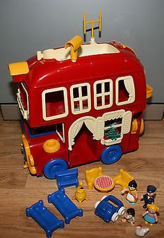 Bluebird big red fun bus with #people figures #furniture #vintage toy from 1980's,  View more on the LINK: http://www.zeppy.io/product/gb/2/111915213890/