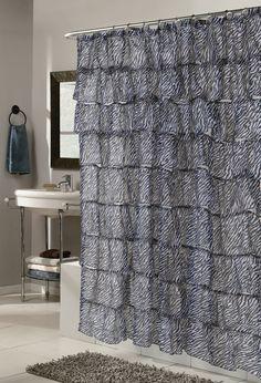 Carmen Zebra Print Crushed Voile Ruffle Tier Shower Curtain