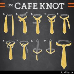 Van Heusen's THE CAFE KNOT This knot goes perfectly with an espresso and croissant. Show us what you're pairing the café knot with! Reply with a pic. Cool Tie Knots, Best Tie Knot, Tie Knot Styles, Tie A Necktie, Necktie Knots, Suspenders And Tie, Floral Bow Tie, Tie Accessories, Skinny Ties