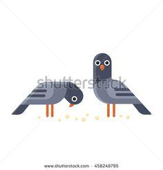 Two funny cartoon pigeons illustration. Geometric flat vector style.