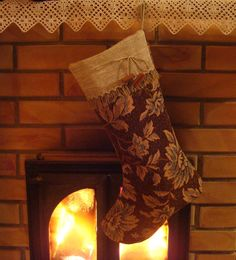 Rustic Christmas stocking from floral fabric accented by MilaStyle
