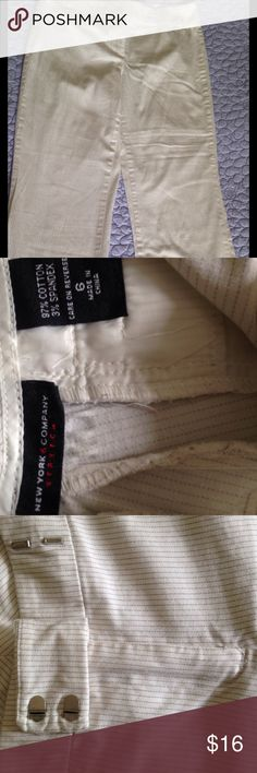 Ny & C stretch pants NY & C stretch 97% cotton, 3% spandex, stripe pants, light beige, gently used in great condition, no pet, Non smoking home. They will look lovely with most tops. New York & Company Pants Trousers