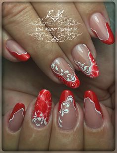 New nail designs. Fingernails Painted, Shellac Nails, Red Nails, Nail Nail, Acrylic Nails, Nail Polish, Beauty Hacks Nails, Nail Art Hacks, Cute Nails