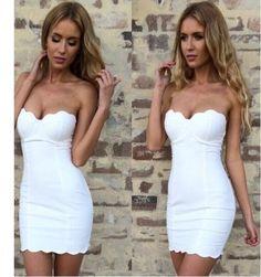 vestido strapless blanco