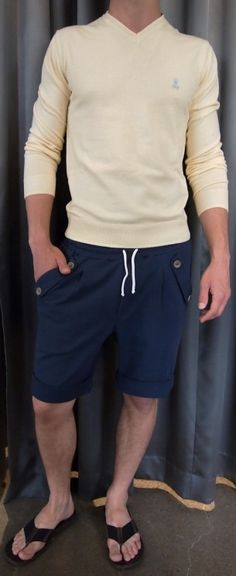 Psycho Bunny sweater $215, Bustle knit rolled shorts $150 from Gotstyle Menswear.