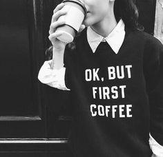 Image via We Heart It https://weheartit.com/entry/165699743 #blackandwhite #coffee #love #butfirst