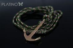 2002423a53c8 Pulsera Ancla Baño Oro 18k  249 correa verde fuerte con rojo Exclusivo por  Tiendas Platino www