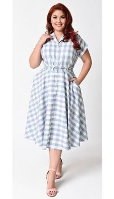 Unique Vintage Plus Size Light Blue & White Gingham Alexis Shirtdress