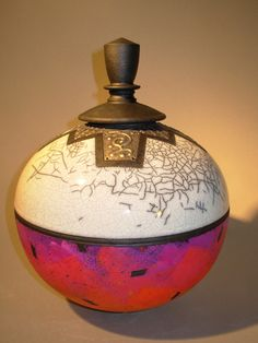 Rick Foris raku calligraphy vessel.  Google Image Result for http://www.rickforis.com/images/CurrentWork/images/12--Red-and-White-Calligrap.jpg