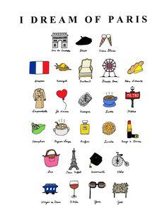 I Dream of Paris (French ABC's)- 8x10 Illustration Print. $23.00, via Etsy.