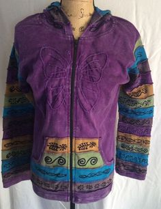 Purple Nepal Greater Good Hoodie/jacket Embellished Butterfly Size L/XL  #GreaterGoods #Hoodie