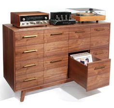 I would love to snap up one of these custom-made Atocha Design record credenzas. Each of the drawers holds up to 95 records, and you can flip through each record while enjoying the cover art, a must for audiophiles.