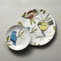 Marin Summer Birds Dinnerware | Crate and Barrel