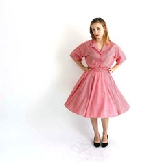 vintage gingham dress . red picnic plaid square dance by aorta
