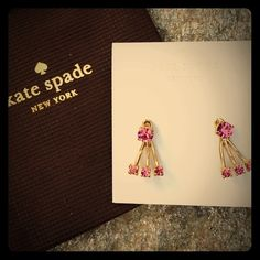 Kate Spade Dainty Sparklers Crystal Ear Jackets ‼️ SALE‼️ Kate Spade New York Dainty Sparklers Crystal Pink Ear Jackets. Dark pink crystals contrast elegantly with shiny 12 karat gold plated metal. New with tags retail price $48. Includes Kate Spade signature gift bag. PRICE FIRM kate spade Jewelry Earrings