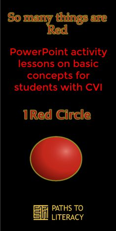 PowerPoint activity lessons on basic concepts for students with CVI (cortical / cerebral visual impairment): So Many Things Are Red Basic Shapes, Literacy, Visual Impairment, Students, Animation, Concept, Activities, Education, Words