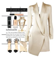 """INVINCIBLE못이겨"" by fuckedchanel ❤ liked on Polyvore featuring Forum, Anya Hindmarch, Giorgio Armani, MAC Cosmetics, Haute Hippie, Christian Louboutin, Boohoo, Chanel and Rosantica"
