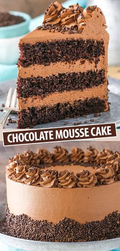 This Chocolate Mousse Cake is a classic! This Chocolate Mousse Cake is a classic! With three layers of moist chocolate cake and two layers of smooth and creamy chocolate mousse all covered in chocolate whipped cream! Best Cake Recipes, Dessert Recipes, Gourmet Desserts, The Cheesecake Factory, Chocolate Whipped Cream, Whipped Cream Cakes, Food Cakes, Bakery Cakes, Pavlova