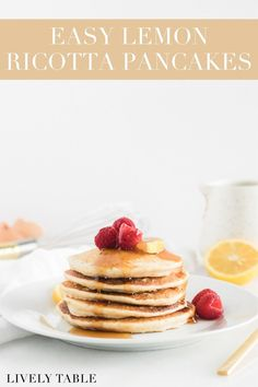 Healthy lemon ricotta pancakes are rich, moist and creamy, yet light and barely sweet. They're the perfect summer breakfast and great for using up leftover ricotta! Waffle Recipes, Fruit Recipes, Real Food Recipes, Pancake Recipes, Yummy Food, Healthy Recipes, Whole Wheat Pancakes, Pancakes And Waffles, Best Breakfast Recipes