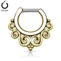 Tribal Swirl Fan 14g or 16g Septum Clicker - Choose Gold Tone, Rose, Hematite, or Silver Tone (16G Gold Tone) Pierced Owl http://www.amazon.com/dp/B014DQLPNC/ref=cm_sw_r_pi_dp_9A5Nwb0B4YJCB