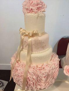 suger ruffle wedding cake, edible lace and peony