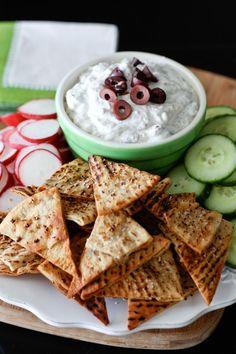 Kalamata Olive and Feta Greek Yogurt Dip with Baked Lemon Pepper Pita Chips (@Aggie's Kitchen)