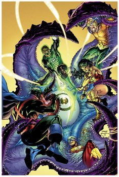 GreenLantern, WonderWoman, MartianManhunter, Aquaman, and KidFlash(?)