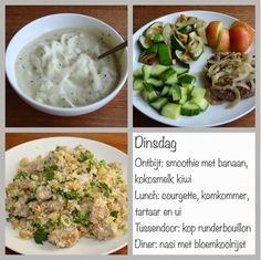 Gezond leven van Jacoline: Dagmenu dinsdag Lchf, Kiwi, A Food, Mashed Potatoes, Smoothies, Paleo, Low Carb, Ethnic Recipes, Zucchini