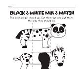 Animal Mix and Match Worksheets | All Kids Network Curious Creatures, Book Week, Zebras, Mix N Match, Panda Bear, Worksheets, Black And White, Comics, Books