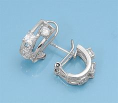 Leanne's Mixed Cut Cubic Zirconia Silver Fashion Leverback Earrings
