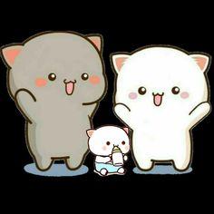 Couple Illustration, Illustration Art, Cute Bear Drawings, Chibi Cat, Cute Love Gif, Cute Love Cartoons, Cat Wallpaper, Rilakkuma, Cute Bears
