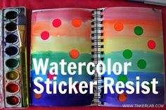 August 2012 BBLC (did not work, stickers too difficult for preschoolers to remove, water seeped beneath) Watercolors & Stickers from the office supply aisle make for a rewarding and easy art project with kids (and grown-ups too). Watercolor Stickers, Easy Watercolor, Watercolor Paintings, Watercolors, Painting Art, Preschool Crafts, Crafts For Kids, Arts And Crafts, Toddler Crafts