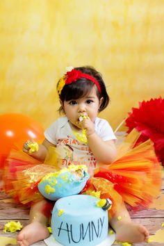 Sophia's Winnie the Pooh First Birthday Cake Smash - Simply Sweet Snapshots