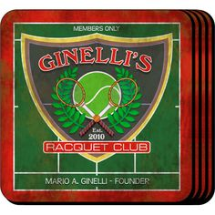 """Racquet Club Personalized Tennis Coaster Set. The tennis enthusiast or home bartender will appreciate these sets of four richly detailed, waterproof coasters, which reflect his fave activity. Our personalized coasters are a perfect accessory to any bar or family room. Our Racquet Club Personalized Beverage Coaster Set's personalized design is printed in full color onto a non-skid cork base. Includes 4 coasters and mahogany caddy for storage. Each coaster measures 3.75"""" x 3.75""""."""