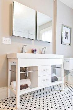 Impermo: salle de bains rétro style Anglais avec cette mosaïque céramique Notting Hill White & Black