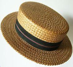 baf20a4570a Vintage Mens Straw Boater Hat. Boater Hat