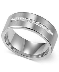 Triton Men's Diamond Ring, Cobalt Channel-Set Diamond Wedding Band (1/4 ct. t.w.) - FINE JEWELRY - Jewelry & Watches - Macy's