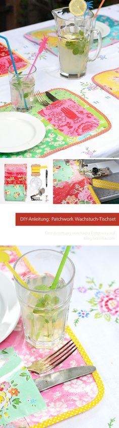 Wachstuch Tischset im Patchwork-Look. Anleitung von Nadra Ridgeway auf blog.bernina.com
