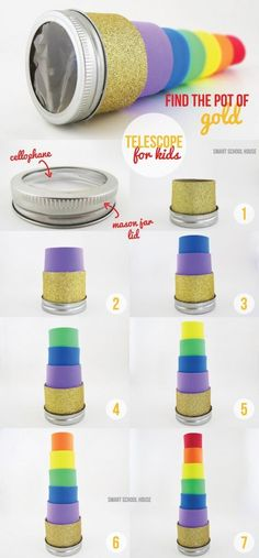 How to make a diy telescope to find the pot of gold! A rainbow, leprechaun, four leaf clover finding telescope for kids! Helps kids find anything you can image or set out to see Holiday Crafts, Holiday Fun, Fun Crafts, Saint Patrick, Telescope Craft, Diy Spring, St Patricks Day Crafts For Kids, Wie Macht Man, Pot Of Gold