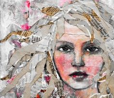 Mixed-media collage by Rachelle Panagarry. #portrait #mixed-media #collage…