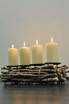a very different and modern kind of advent wreath - made of natural birch branches - we can DIY this -- Decoration Christmas, Noel Christmas, Xmas Decorations, Winter Christmas, Christmas Wreaths, Christmas Crafts, Christmas Ornaments, Advent Wreaths, Best Candles