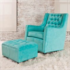 tiffany blue glider and gliding ottoman Bratt Decor Tiffany Blue Bedroom, Tiffany Blue Furniture, Glider And Ottoman, Ottoman Furniture, Azul Tiffany, Nursery Design, Baby Boutique, Baby Cribs, My New Room